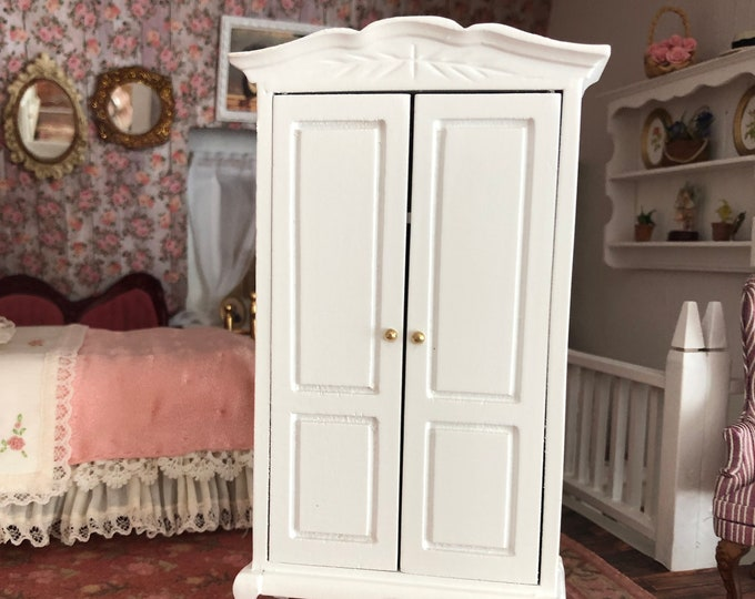 Miniature Wardrobe Armoire, White Wood Armoire Cabinet, Dollhouse Miniature Furniture, 1:12 Scale, White Armoire, 1 Inch Scale