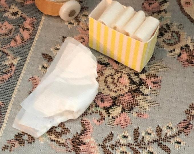 Miniature Diaper Box and Diaper, Mini Diapers, Dollhouse Miniature, 1:12 Scale, Dollhouse Nursery Decor, Accessory