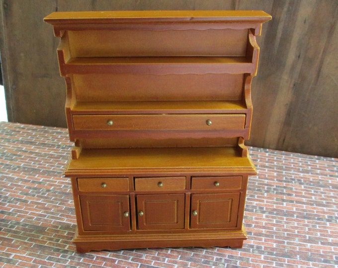 Miniature Hutch, Wood Hutch, 3 Doors, 4 Drawers, Walnut Finish Mini Hutch, Dollhouse Miniature Furniture, 1:12 Scale