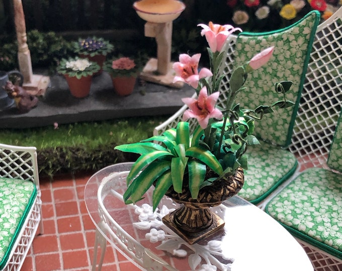 Miniature Flower Arrangement, Pink Lily Flowers and Plant in Planter,  Dollhouse Miniature, 1:12 Scale, Dollhouse Decor, Accessory
