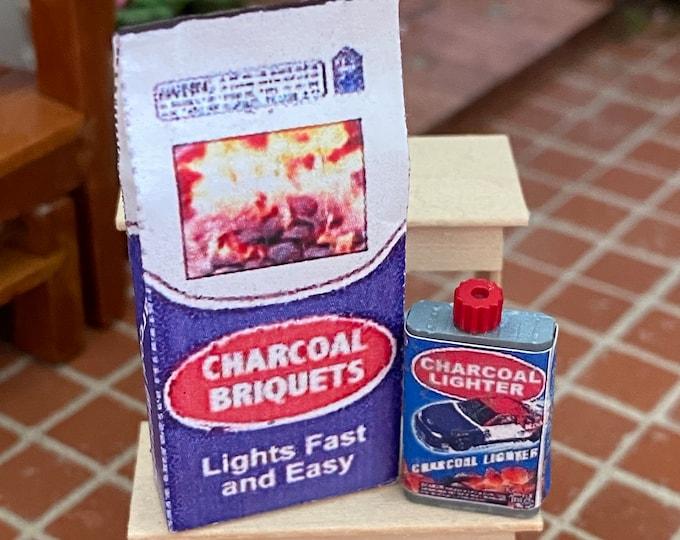 Miniature Charcoal Bag and Lighter Fluid Bottle, Dollhouse Miniature, 1:12 Scale, Dollhouse Accessory, Decor, Mini Yard Garden Decor