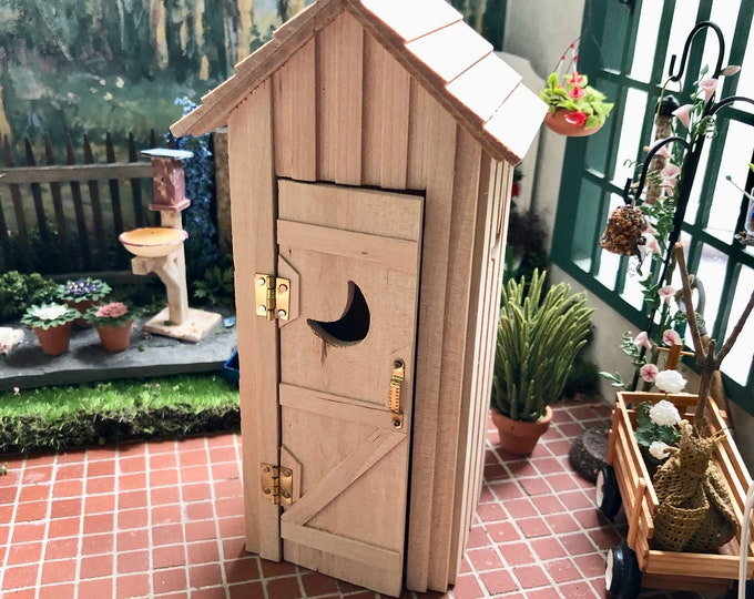 Miniature Outhouse, Mini Unfinished Wood Outhouse, Dollhouse Miniature, 1:12 Scale, Wood Out House With Hinged Moon Door, One Seater