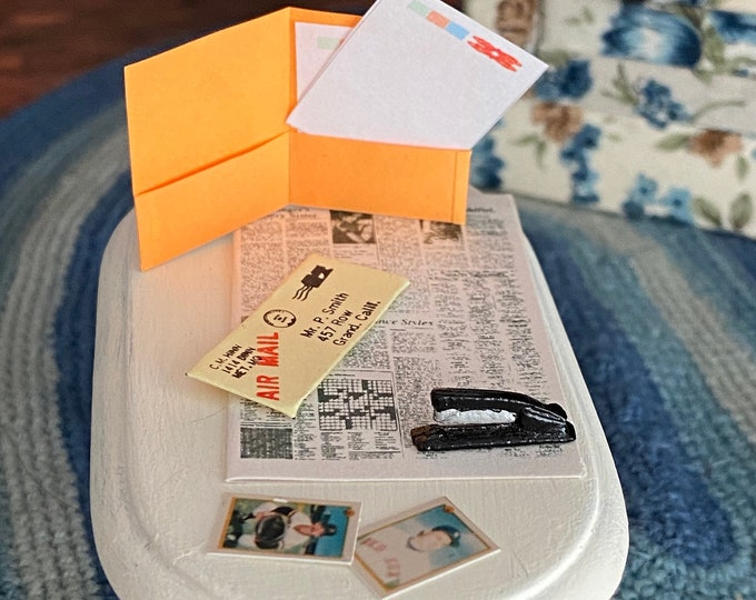 Miniature Desk Paper Set, Pocket Folder, Stapler, Paper, Letter, Newspaper & Baseball Cards, 8 PC Set, Dollhouse Miniatures, 1:12 Scale
