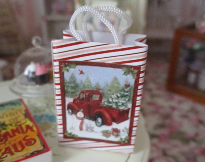 Miniature Holiday Shopping Bag, Truck and Snowman Winter Scene Bag, Style #61D, Dollhouse Miniature, 1:12 Scale, Dollhouse Accessory, Decor