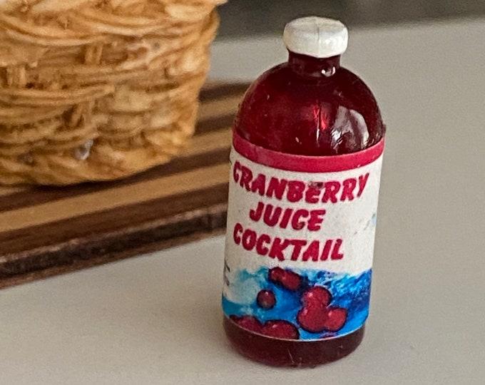 Miniature Cranberry Juice, Mini Juice Bottle, Dollhouse Miniature, 1:12 Scale, Dollhouse Food, Mini Bottle, Dollhouse Accessory, Decor