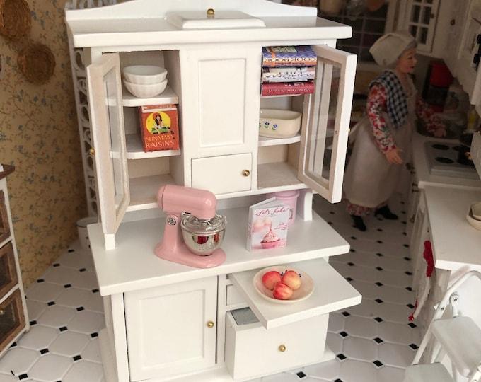 Miniature Flour Bin Hutch, White Wood Flour Hutch Cabinet, Clear Doors, Drawers, Bin, Dollhouse Miniature Furniture, 1:12 Scale, Kitchen