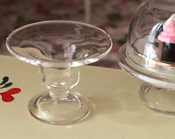 Miniature Glass Fruit Bowl, Mini Glass Pedestal Fruit Bowl, Style #53, Dollhouse Miniature, 1:12 Scale, Kitchen Dining Decor