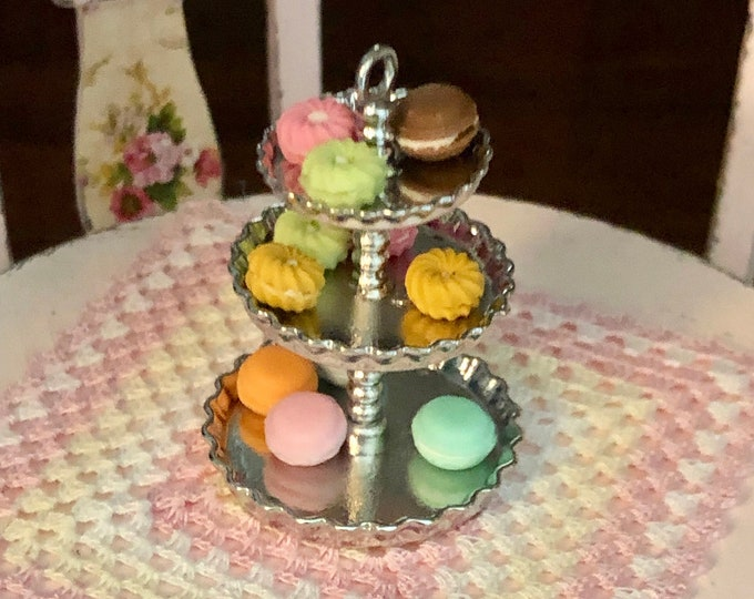 Miniature Dessert Tray, 3 Tier Silver Dessert Server Tray, Dollhouse Miniature, 1:12 Scale, Dollhouse Accessory, Dining Kitchen Decor
