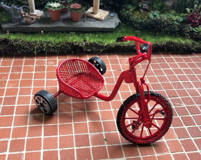 Miniature Pedal Bike, Mini Red Metal Pedal Bike, Dollhouse Miniature, 1:12 Scale, Dollhouse Accessory, Clearance Priced
