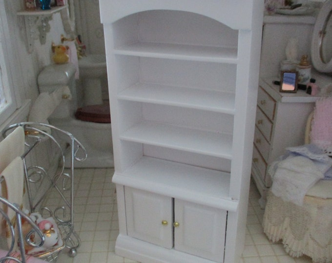 Miniature Cabinet, Mini White Wood Cabinet Book Case With Shelves And 2 Bottom Drawers, Style #11, Dollhouse Miniature Furniture, 1:12 Scale