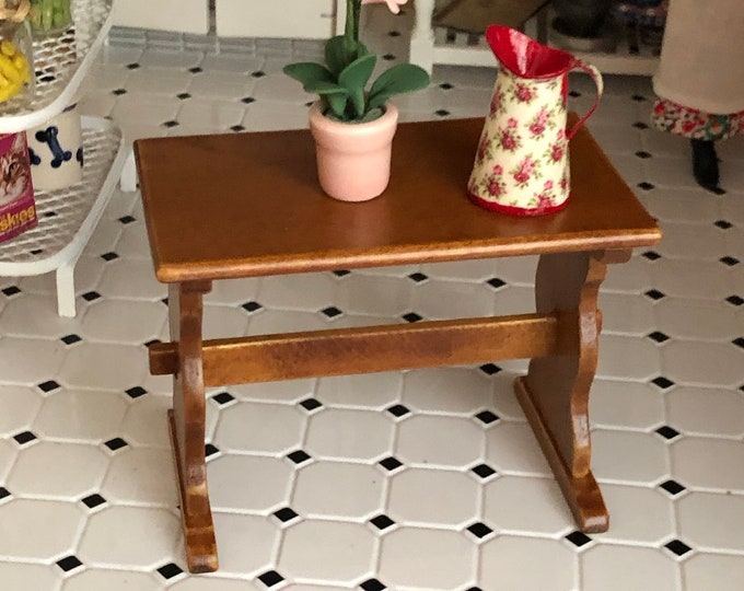 Miniature Nook Trestle Table, Wood Table, Walnut Finish, Dollhouse Miniature, 1:12 Scale, Dollhouse Furniture, Mini Table