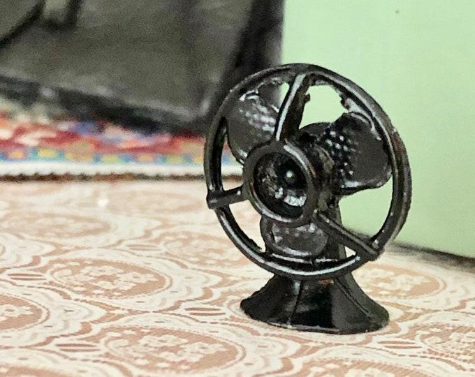 Miniature Fan, Black Cast Iron Look Mini Fan, Dollhouse Miniature, 1:12 Scale, Dollhouse Accessory, Decor