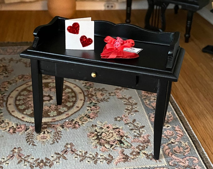 Miniature Black Desk With Drawer, Style #18, Dollhouse Miniature Furniture, 1:12 Scale, Mini Black Wood Table, Desk