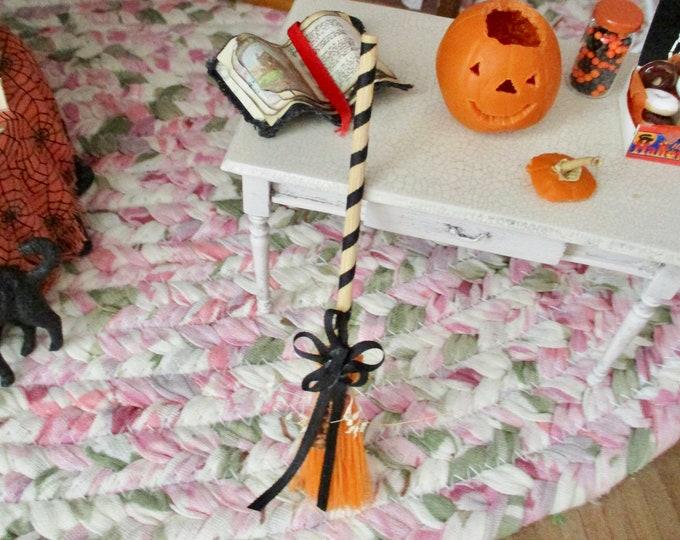 Miniature Broom Decorated for Fall, Mini Fall Broom with Silk Ribbon Bow, Dollhouse Miniature, 1:12 Scale, Dollhouse Fall Decor