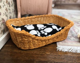 Miniature Dog Bed, Large Size, Rectangle Shape, Paw Print Black and White Cushion,#1136, Dollhouse Miniature, 1:12 Scale