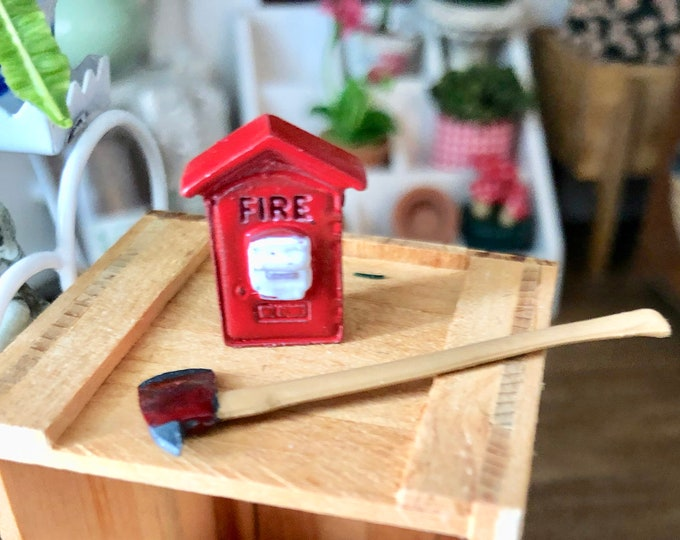 Miniature Fire Box and Firemen Axe, Dollhouse Miniature, 1:12 Scale, Dollhouse Accessory, Decor, Crafts