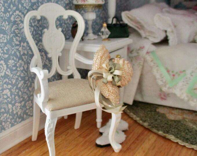 Miniature JBM Chair, White Victorian Style Balloon Armchair With Cushion, Style #72, Dollhouse Miniature Furniture, 1:12 Scale, Mini Chair
