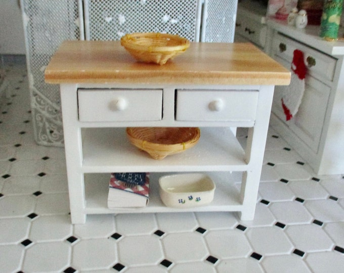 Miniature Kitchen Work Table, Mini White Wood With Oak Top Table With Bottom Shelf And Drawers, Style #09, Dollhouse Miniature, 1:12 Scale