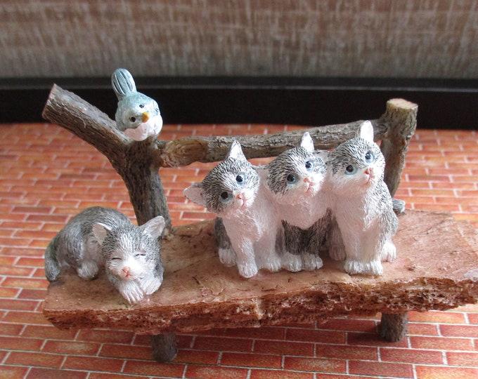 Curious Kittens & Bird On Bench Figurine, Garden Decor, Figurine, Gift, Shelf Sitter, Wood Look Bench With Owls