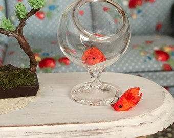 Miniature Goldfish, Set of 2, Dollhouse Pets, Dollhouse Miniature 1:12 Scale, Dollhouse Accessory, Decor, Crafts