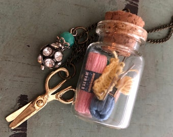 Glass Cork Top Jar Necklace, Knitting and Yarn in Jar, Style #JF7-1, Mini Scissors Chain with Yarn Filled Jar, Knitting, Knitters Gift