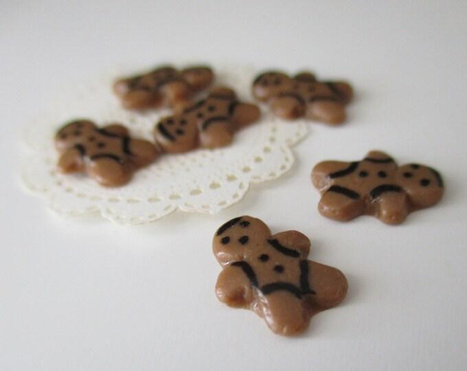 Miniature Gingerbread Man Cookies, Mini Cookies, 6 Piece Set, Style #02, Dollhouse Miniature, 1:12 Scale, Holiday Decor, Mini Food