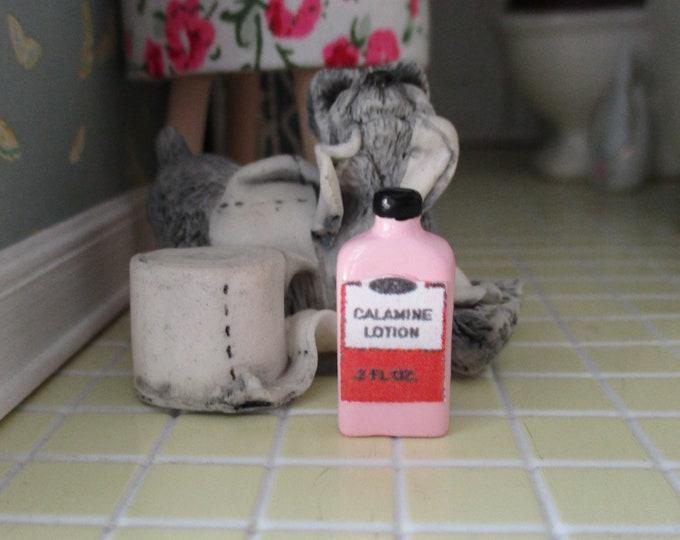 Miniature Medicine Bottle, Mini Pink Lotion Bottle, Style #08, Dollhouse Miniature, 1:12 Scale, Dollhouse Decor, Bathroom Accessory