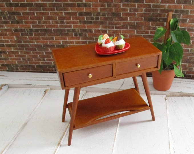 Miniature JBM Modern Small Buffet Table With Bottom Shelf, Walnut Wood Finish Table, Dollhouse Miniature, 1:12 Scale, Mini Shelf