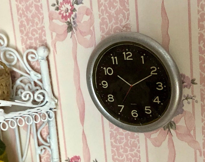 Miniature Silver Wall Clock, Style 04, Dollhouse Miniature Accessory, 1:12 Scale, Dollhouse Decor, Mini Clock, Black Face, White Numbers