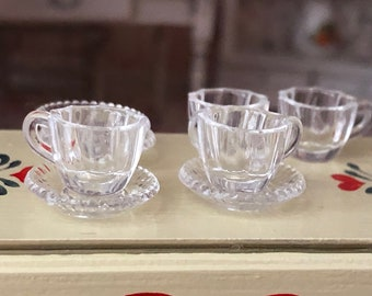 Miniature Coffee Cups and Saucer, Clear Mugs, 8 PC Cup and Saucer Plate Set, Dollhouse Miniature, 1:12 Scale, Dollhouse Accessory, Decor