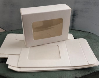 Clear Window Soap Boxes Set of 3, White Soap Box With Window