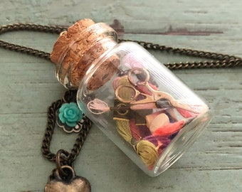 Glass Cork Top Jar Necklace, Jar Filled With Mini Floss, Thread and Stork Scissors, Style #JF1, Sewing Lover Necklace, Gift, Chain & Charms