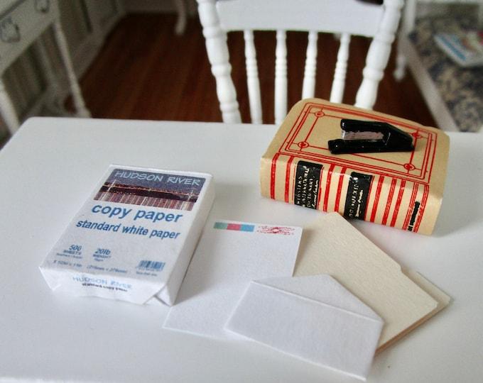 Miniature Office Supplies, Copy Paper, Stapler, Paper, Folder, Envelope, 6 Piece Set, Style #03, Dollhouse Miniatures, 1:12 Scale