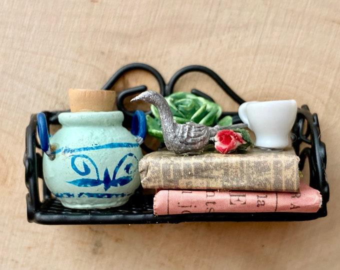 Miniature Decorated Metal Black Wall Shelf, Shelf with Books, Cup, Bird, Rose, Style #1, Dollhouse Miniature, 1:12 Scale, Dollhouse Decor