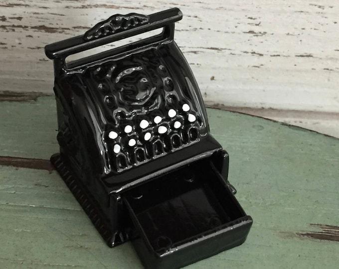 Miniature Cash Register, Vintage Style Black Cash Register, Dollhouse Miniature, 1:12 Scale, Dollhouse Accessory, Mini Decor, General Store