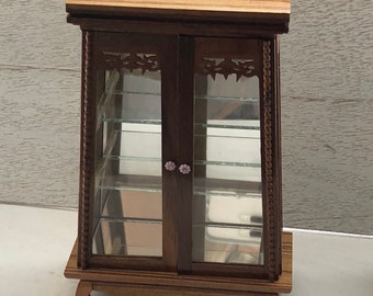 Beautiful Miniature Display Cabinet, Wood Hutch Cabinet with Glass Doors, Shelves and Mirrored Back, Dollhouse Miniature, 2 Door Cabinet