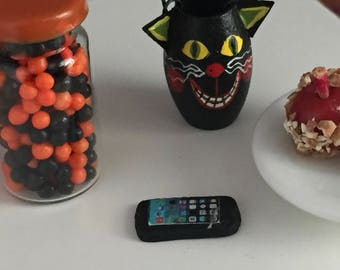 Miniature Cell Phone, Dollhouse Miniature, 1:12 Scale, Mini Black Phone, Dollhouse Decor Accessory, Tiny Phone