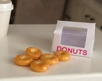 Miniature Donuts, Glazed Donuts With Window Box, Dollhouse Miniature, 1:12 Scale, Miniature Food, Dollhouse Accessory, Decor