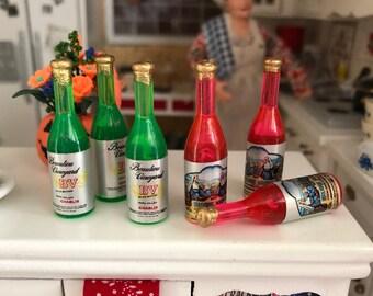 Miniature Wine Bottles, 6 Piece Set, Dollhouse Miniatures, 1:12 Scale, Dollhouse Accessories, Decor, Mini Wine