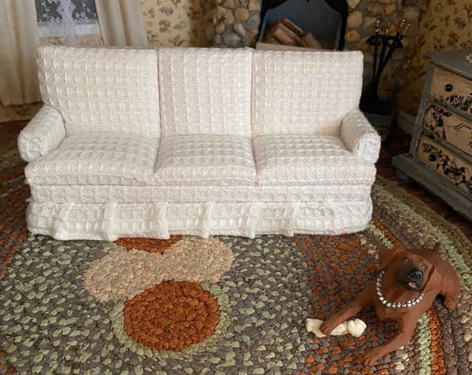 Miniature Sofa, White Fabric Sofa Couch, Clearance Priced, Dollhouse Miniature Furniture, 1:12 Scale, Mini Couch