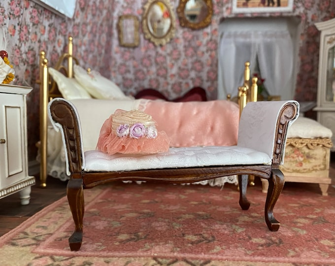 Miniature Settee, Walnut Wood Finish with White Fabric, Mini Bench, Dollhouse Furniture, 1:12 Scale, Fabric Covered Settee