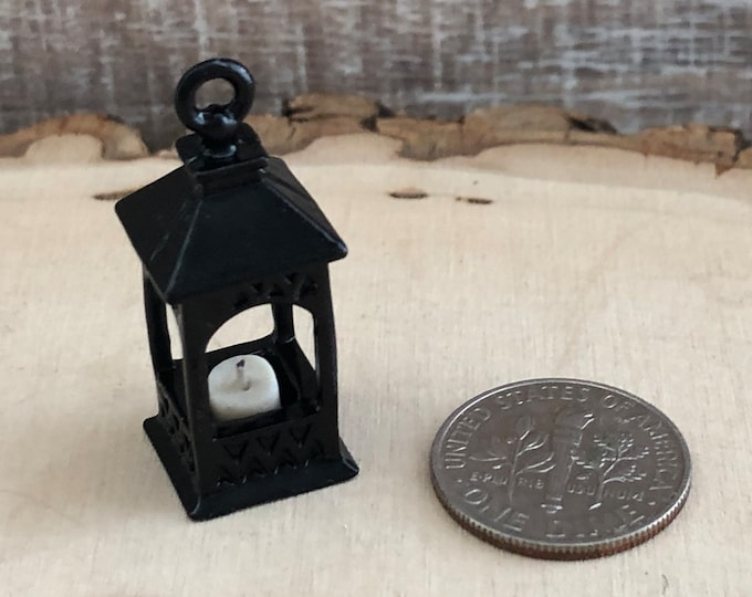 Miniature Black Lantern With Candle, Dollhouse Miniature, 1:12 Scale, Dollhouse Decor, Accessory, Mini Black Metal Lantern