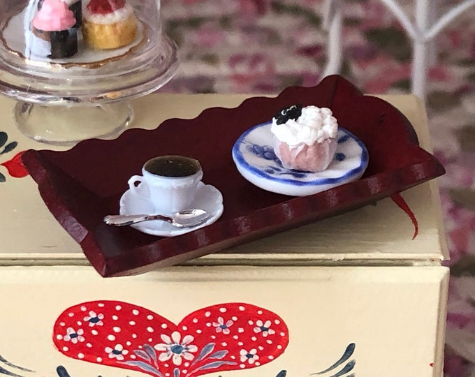 Miniature Wood Serving Tray, Mini Mahogany Tray, Dollhouse Miniature, 1:12 Scale, Dollhouse Accessory, Decor, Wood Tray 1 Inch Scale