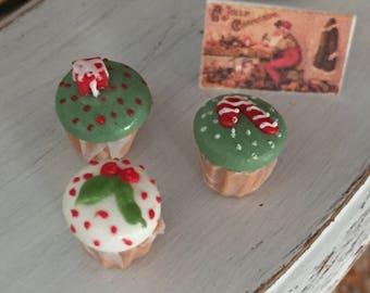 Miniature Christmas Cupcakes, Set of 3, Style 2, Dollhouse Miniature, 1:12 Scale, Miniature Food, Mini Cupcakes, Dollhouse Food