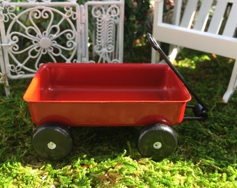 Miniature Red Wagon, Metal Wagon, Larger Size, Style 4197, Dollhouse Miniature, 1:12 Scale, Fairy Garden Accessory, Miniature Garden