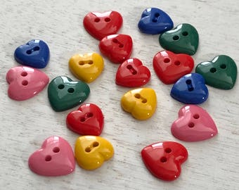 """Heart Buttons, Packaged Assortment, 2 Hole Buttons, """"""""Hearts of Color"""" Style 4125, by Buttons Galore, Sewing, Crafting, Embellishments"""