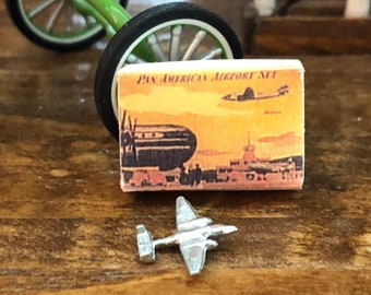 Miniature Toy Airplane and Box Set, Vintage Look Pan American Airplane and Box Set, Dollhouse Miniature, 1:12 Scale, Dollhouse Accessory