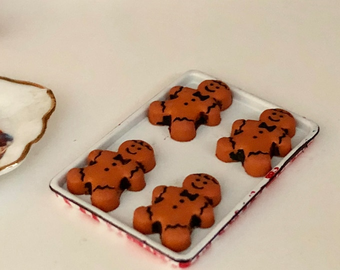 Miniature Cookies, Gingerbread Man Cookies on Sheet, Dollhouse Miniature, 1:12 Scale, Mini Food, Dollhouse Food, Accessory, Decor, Holiday