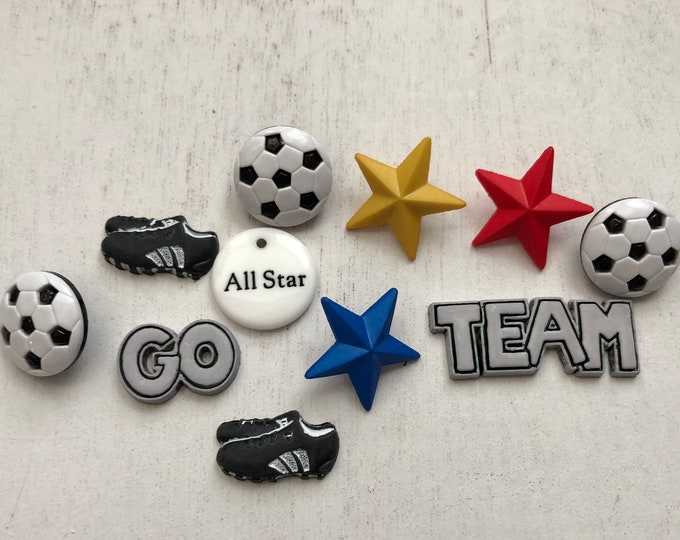 Soccer Buttons, Packaged Novelty Button Assortment, Style 4068 by Buttons Galore, Includes Balls Shoes and More