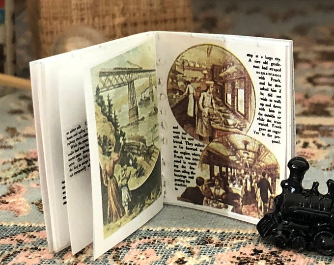 Miniature Book, Railroad Story Book, Antique Repo Readable Mini Book, Dollhouse Miniature, 1:12 Scale, Mini Book With Color Photos and Text